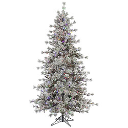 7.5 Foot Flocked Anchorage Artificial Christmas Tree 600 LED Multi Lights