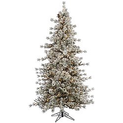 9 Foot Flocked Anchorage Artificial Christmas Tree 850 DuraLit Clear Lights