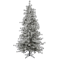 15 Foot Flocked Anchorage Pine Artificial Christmas Tree Unlit