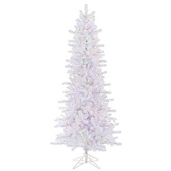 6.5 Foot Crystal White Slim Artificial Christmas Tree 400 LED Multi Lights