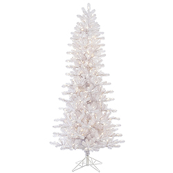 7.5 Foot Crystal White Slim Artificial Christmas Tree 500 LED Warm White Lights