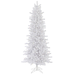 8.5 Foot Crystal White Slim Artificial Christmas Tree Unlit