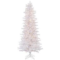 8.5 Foot Crystal White Slim Artificial Christmas Tree 650 DuraLit Clear Lights