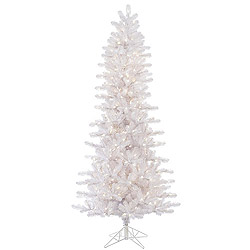 8.5 Foot Crystal White Slim Artificial Christmas Tree 650 LED Warm White Lights