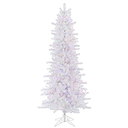 8.5 Foot Crystal White Slim Artificial Christmas Tree 650 LED Multi Lights