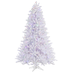 6.5 Foot Crystal White Pine Artificial Christmas Tree 550 LED Multi Lights