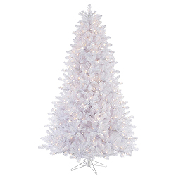 8.5 Foot Crystal White Artificial Christmas Tree 900 DuraLit Clear Lights