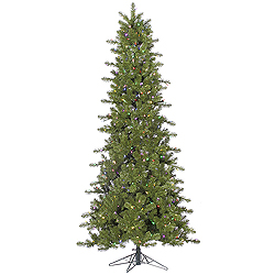 6.5 Foot Slim Ontario Spruce Artificial Christmas Tree 400 LED Multi Lights