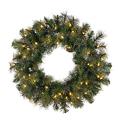 30 Inch Modesto Mixed Pine Wreath 50 LED Warm White Lights