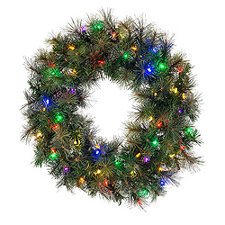 30 Inch Modesto Mixed Pine Wreath 50 LED Multi Lights