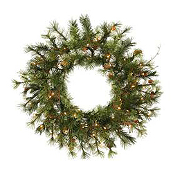48 Inch Modesto Mixed Pine Wreath 100 DuraLit Clear Lights