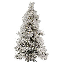 7.5 Foot Flocked Pocono Pine Artificial Christmas Tree 650 LED Warm White Lights