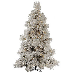 12 Foot Flocked Pocono Pine Artificial Christmas Tree 1800 DuraLit Clear Lights