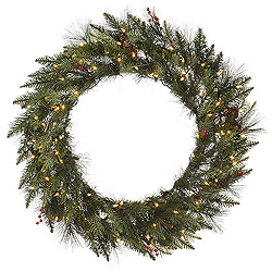 36 Inch Vallejo Mixed Pine Wreath 100 DuraLit Clear Lights