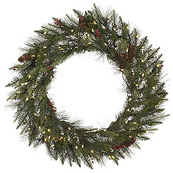 36 Inch Vallejo Mixed Pine Wreath 100 LED Warm White Lights