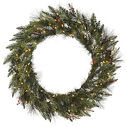 48 Inch Vallejo Mixed Pine Wreath 100 DuraLit Clear Lights