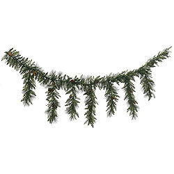 9 Foot Vallejo Mixed Pine Icicle Garland 150 DuraLit Clear Lights