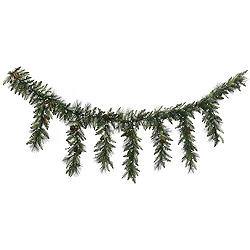 9 Foot Vallejo Mixed Pine Icicle Garland 150 LED Warm White Lights
