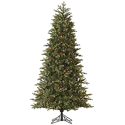 7.5 Foot Slim Rocky Mountain Fir Artificial Christmas Tree 550 LED Warm White Lights