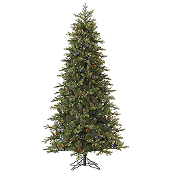 9 Foot Slim Rocky Mountain Fir Artificial Christmas Tree 850 LED Multi Lights