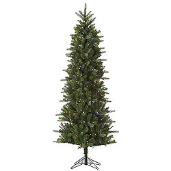 7.5 Foot Carolina Pencil Spruce Artificial Christmas Tree 450 LED Multi Lights