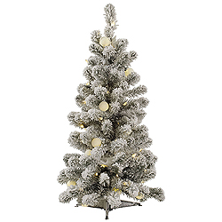 3 Foot Flocked Kodiak Spruce Artificial Christmas Tree 50 LED Warm White Lights With 15 LED G40 Lights