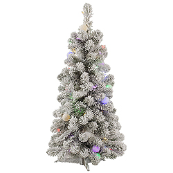 3 Foot Flocked Kodiak Spruce Artificial Christmas Tree 50 LED multi Lights With 15 LED G40 Lights
