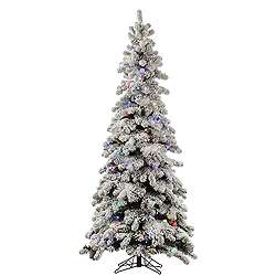8 Foot Flocked Kodiak Artificial Christmas Tree 715 LED Multi Lights With 65 G40 LED Lights
