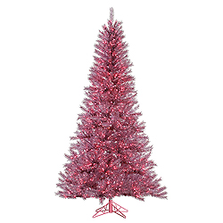9 Foot Orchid Pink Tinsel Artificial Christmas Tree 1000 Pink Lights