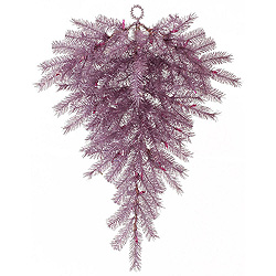 36 Inch Orchid Pink Tinsel Artificial Christmas Teardrop Unlit
