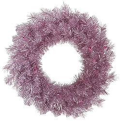 24 Inch Orchid Pink Tinsel Wreath