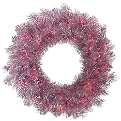 24 Inch Orchid Pink Tinsel Wreath 50 Pink Lights