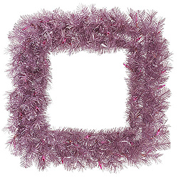 30 Inch Orchid Pink Tinsel Square Wreath