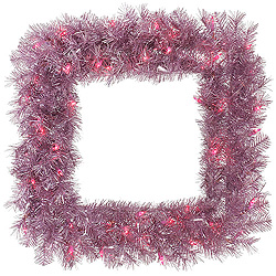 30 Inch Orchid Pink Tinsel Square Wreath 50 Pink Lights