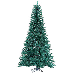 9 Foot Aqua Tinsel Artificial Christmas Tree Unlit