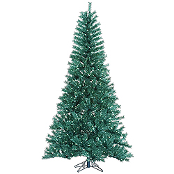 14 Foot Aqua Tinsel Artificial Christmas Tree 3650 Teal Lights