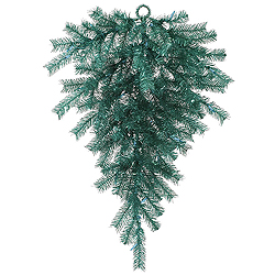 36 Inch Aqua Tinsel Artificial Christmas Teardrop Unlit