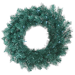 24 Inch Aqua Tinsel Wreath
