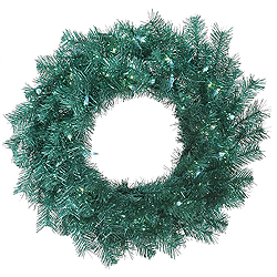 24 Inch Aqua Tinsel Wreath 50 Teal Lights