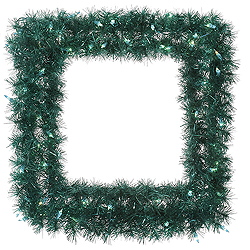 30 Inch Aqua Tinsel Square Wreath 50 Teal Lights