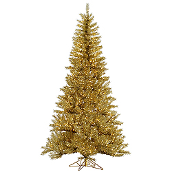 4.5 Foot Gold And Silver Tinsel Artificial Christmas Tree 200 Clear Lights
