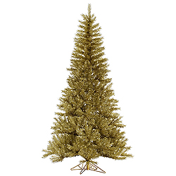7.5 Foot Gold And Silver Tinsel Artificial Christmas Tree Unlit
