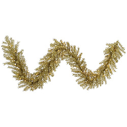 9 Foot Gold And Silver Tinsel Garland 100 LED Warm White Lights