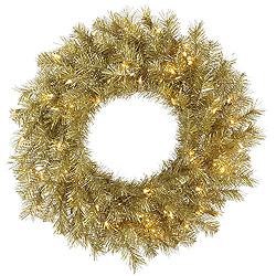 2.5 Foot Gold And Silver Tinsel Wreath 50 Clear Lights