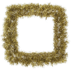 2.5 Foot Gold And Silver Tinsel Square Wreath
