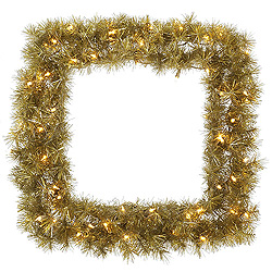 30 Inch Gold And Silver Tinsel Square Artificial Christmas Wreath 50 Clear Lights