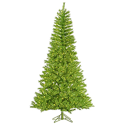 14 Foot Lime Tinsel Artificial Halloween Tree 3650 Lime Lights
