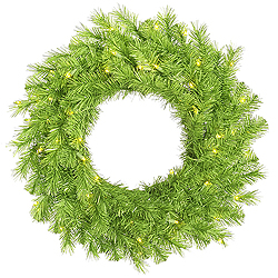 24 Inch Lime Tinsel Artificial Halloween Wreath 50 Lime Lights