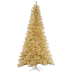 6.5 Foot White And Gold Tinsel Artificial Christmas Tree 450 Clear Lights