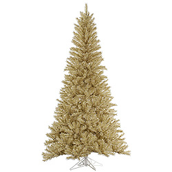 9 Foot White Gold Tinsel Artificial Christmas Tree Unlit